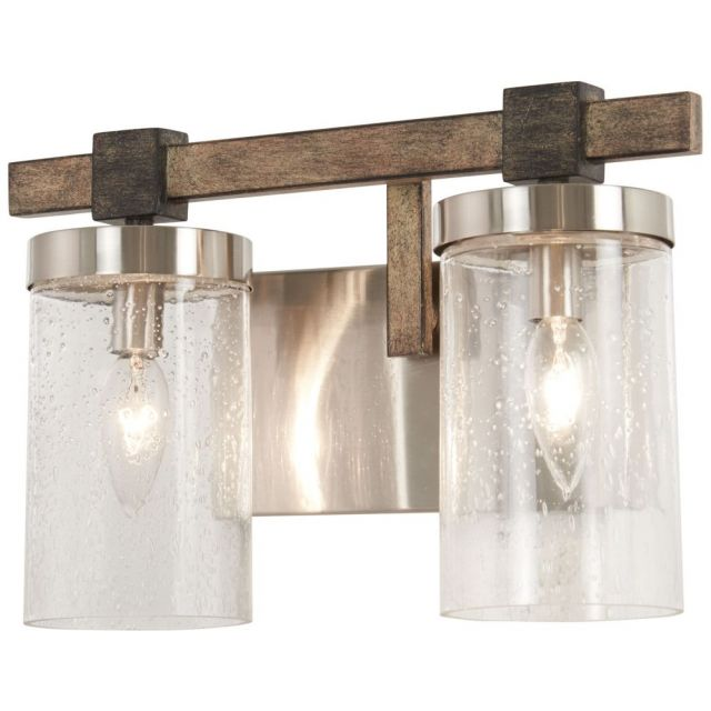 Minka Lavery Bridlewood 2 Light 14 Inch Bath Light in Stone Grey-Brushed Nickel with Clear Seedy Glass 4632-106