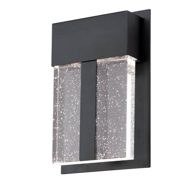 Westinghouse Cava II 1 Light 11 inch Tall LED Outdoor Wall Fixture in Matte Black with Bubble Glass 6578900