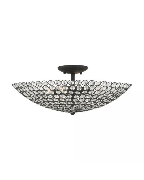 Livex Cassandra 4 Light 20 Inch Semi Flush Mount in Black with Hand Assembled Crystal Shade 40447-04