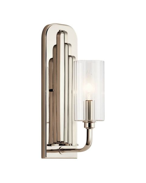 Kichler Kimrose 1 Light 14 inch Tall Wall Sconce in Polished Nickel with Clear Fluted Glass 52415PN