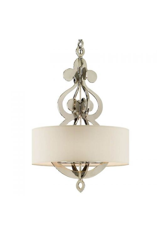 Corbett Lighting Olivia 8 Light 13 Inch Pendant In Polished Nickel With Linen Shade 102-46