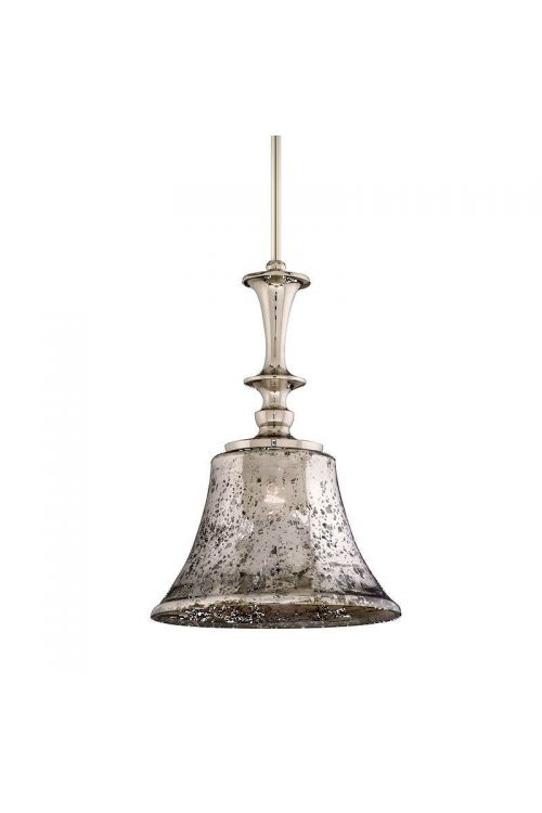 Corbett Lighting Argento 1 Light 13 Inch Pendant In Polished Nickel With Antique Silver Glass 103-42