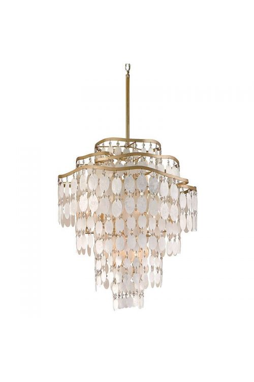 Corbett Lighting Dolce 12 Light 18 Inch Pendant In Champagne Leaf With Capiz Shell/Crystal 109-412