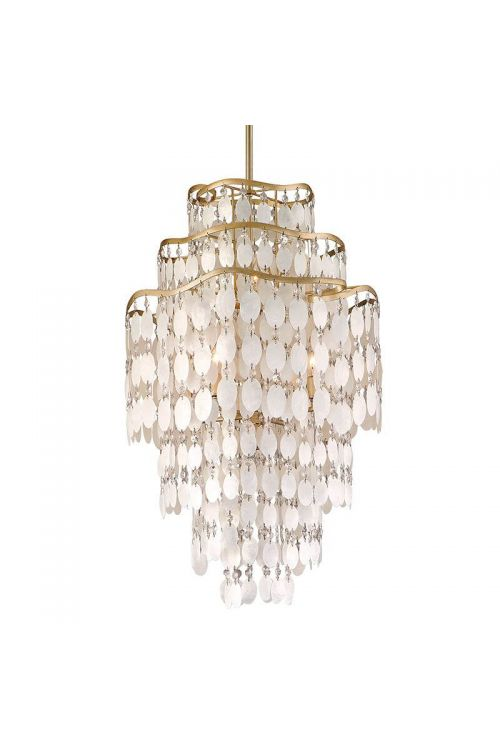 Corbett Lighting Dolce 7 Light 18 Inch Pendant In Champagne Leaf With Capiz Shell/Crystal 109-47