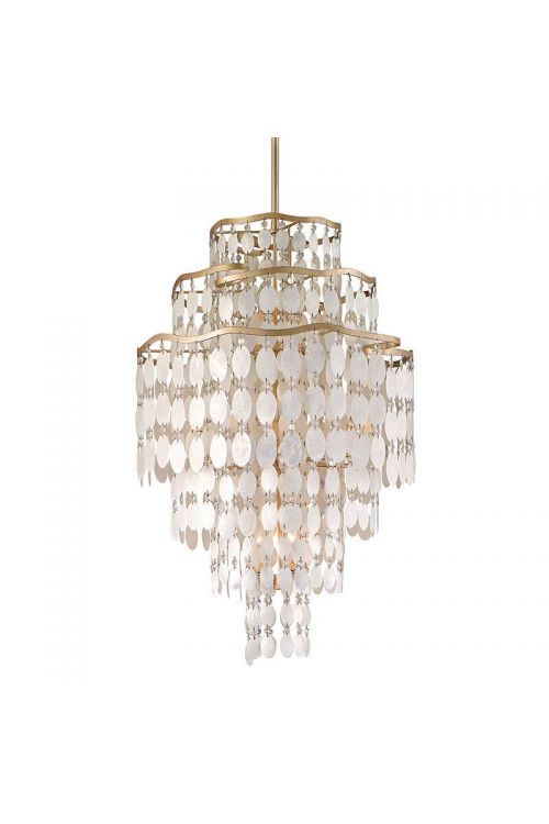 Corbett Lighting Dolce 12 Light 37 Inch Pendant In Champagne Leaf With Capiz Shell/Crystal 109-712