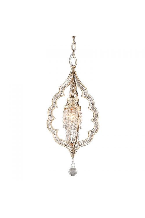 Corbett Lighting Bijoux 1 Light 10 Inch Hanging Pendant In Silver Leaf With Antique Mist With Crystal Accents 161-41