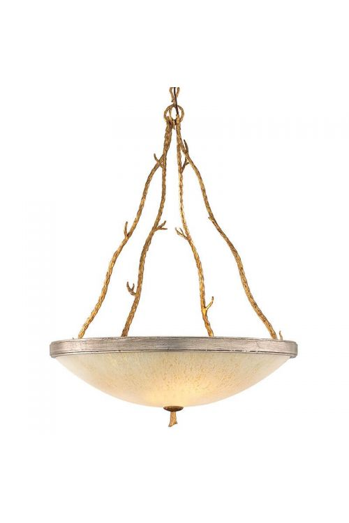 Corbett Lighting Parc Royale 5 Light 30 Inch Pendant In Gold And Silver Leaf With Golden Ice Glass 66-44