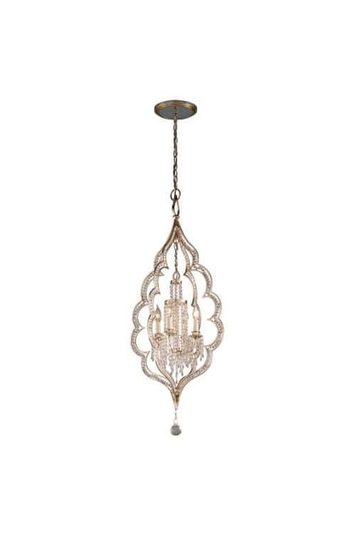 Corbett Lighting Bijoux 4 Light 21 Inch Hanging Pendant In Silver Leaf With Antique Mist With Crystal Accents 161-44