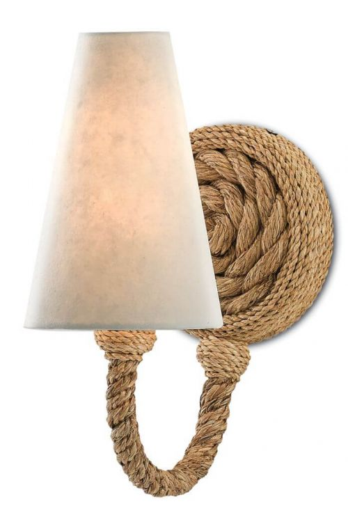 Currey and Company The Bunny Williams 1 Light 13 Inch Tall Wallis Wall Sconce In Natural 5000-0072