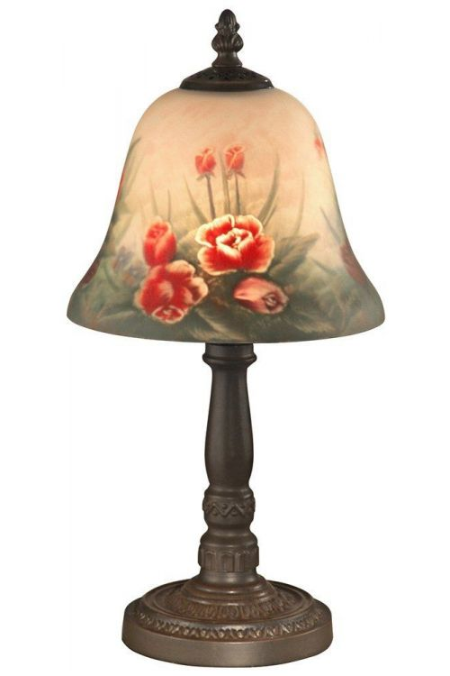 Dale Tiffany 1 Light 15 Inch Tall Rose Bell Accent Lamp In Antique Bronze with Hand Painted Art Glass Shade 10056/604