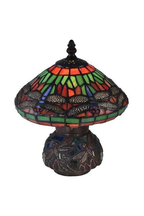 Dale Tiffany 1 Light 10 Inch Tall Red Dragonfly Tiffany Accent Lamp In Antique Bronze with Hand Rolled Art Glass Shade 8774