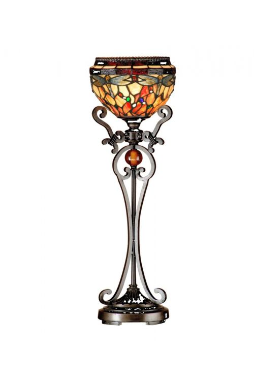 Dale Tiffany Briar 28 Inch Tall Dragonfly Uplight Table Lamp In Antique Bronze/Sand with Hand Rolled Art Glass Shade TB13067