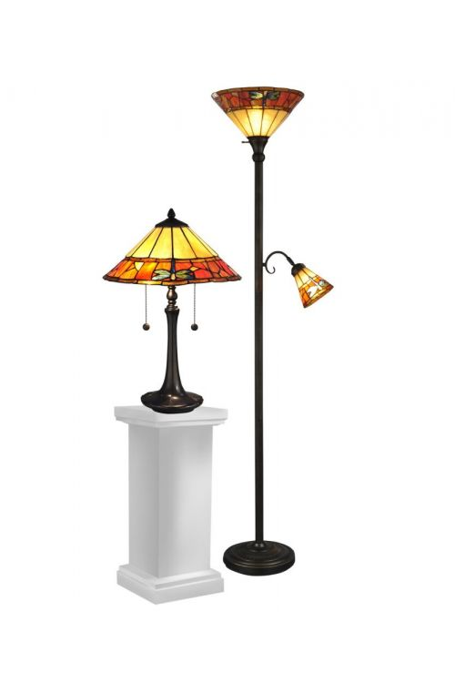 Dale Tiffany 4 Light 21 Inch Tall Genoa Table and Floor Lamp Set In Antique Brass with Hand Rolled Art Glass Shade TC12178