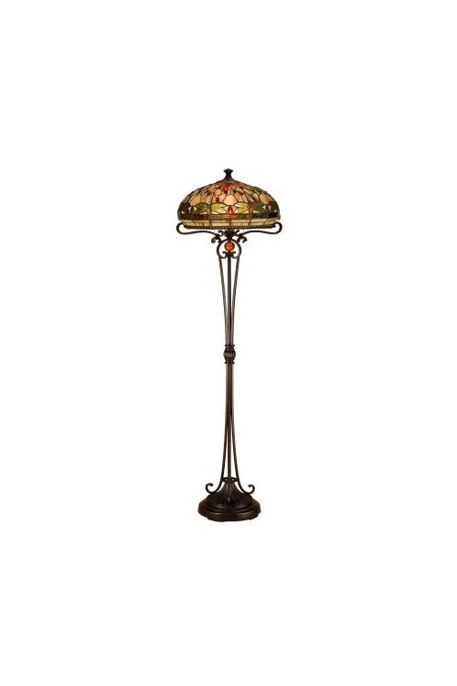 Dale Tiffany 2 Light 63 Inch Tall Briar Dragonfly Floor Lamp In Antique Bronze with Hand Rolled Art Glass Shade TF13066