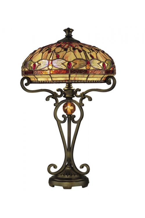 Dale Tiffany 2 Light 24 Inch Tall Briar Dragonfly Table Lamp In Antique Golden Sand with Hand Rolled Art Glass Shade TT10095