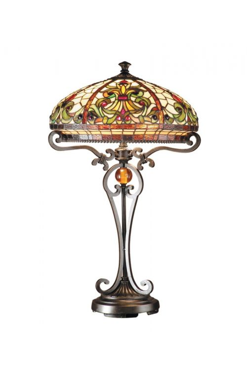 Dale Tiffany 2 Light 28 Inch Tall Boehme Table Lamp In Antique Golden Sand with Hand Rolled Art Glass Shade TT101114