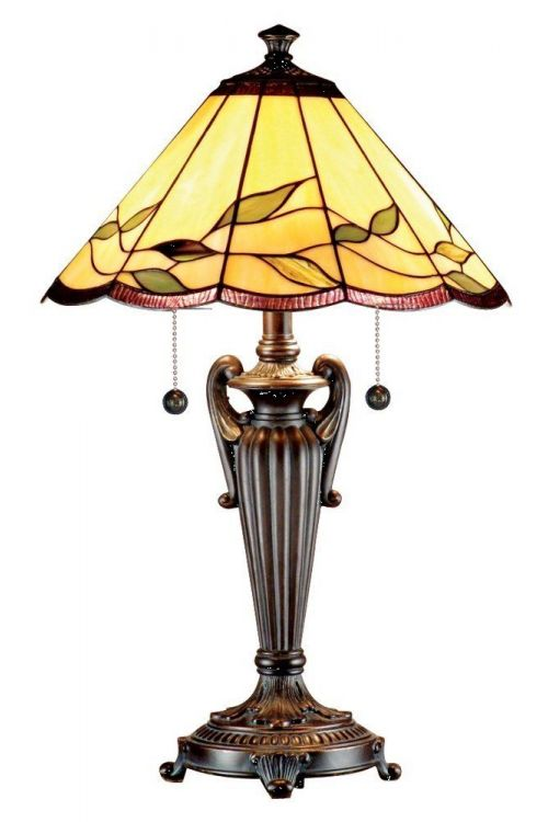 Dale Tiffany 2 Light 26 Inch Tall Falhouse Table Lamp In Antique Bronze with Hand Rolled Art Glass Shade TT101118