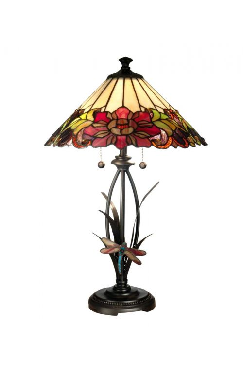 Dale Tiffany 2 Light 25 Inch Tall Floral With Dragonfly Tiffany Table Lamp In Antique Bronze with Hand Rolled Art Glass Shade TT10793