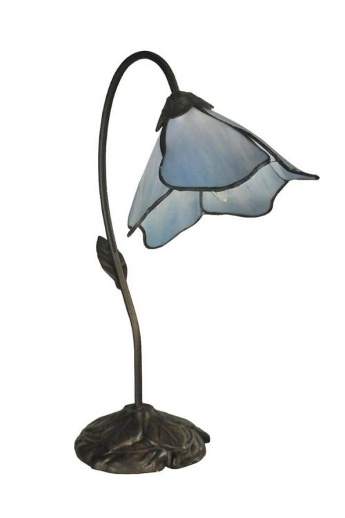 Dale Tiffany Poelking 1-Light 19 Inch Tall Blue Lily Table Lamp In Dark Antique Bronze with Hand Rolled Art Glass Shade TT12145