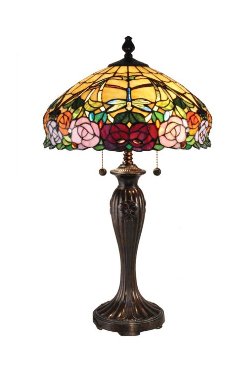 Dale Tiffany Zenia 27 Inch Tall Rose Table Lamp In Fieldstone With Hand Rolled Art Glass Shade TT15097