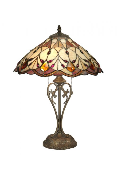 Dale Tiffany 2 Light 24 Inch Tall Marshall Table Lamp In Antique Bronze with Hand Rolled Art Glass Shade TT70699