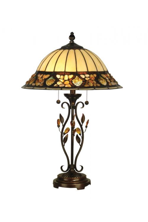 Dale Tiffany 2 Light 27 Inch Tall Pebble Stone Table Lamp In Antique Golden Sand with Hand Rolled Art Glass Shade TT90172