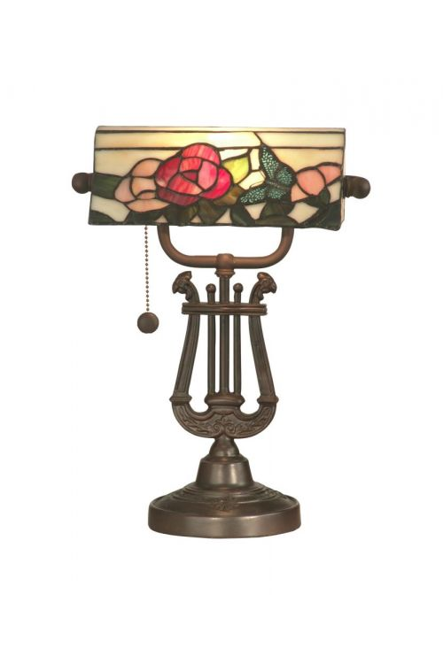 Dale Tiffany 1 Light 15 Inch Tall Broadview Bank Accent Lamp In Antique Bronze with Hand Rolled Art Glass Shade TT90186