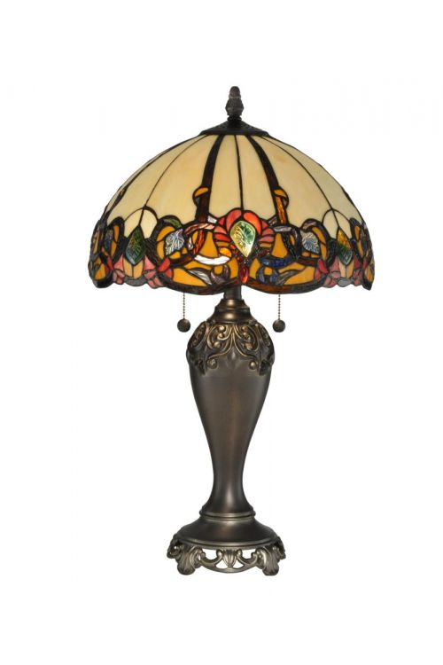 Dale Tiffany 2 Light 27 Inch Tall Northlake Table Lamp In Antique Bronze with Hand Rolled Art Glass Shade TT90235