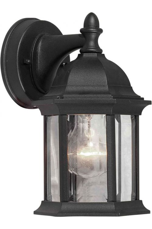 Forte Lighting 1 Light 10 Inch Tall Cast Al Outdoor Lantern In Black With Clear Beveled Glass Panels 1776-01-04