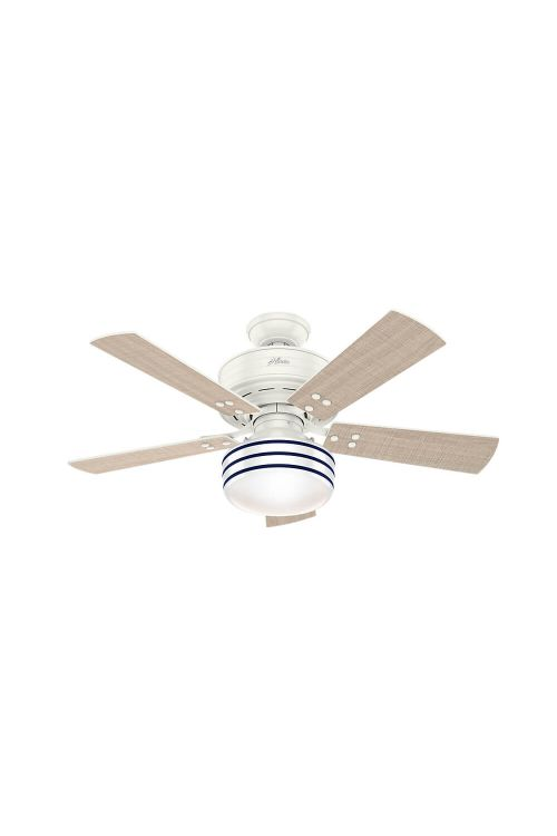 Hunter Cedar Key 1 LED Light 44 Inch Outdoor Ceiling Fan In Fresh White 5 Washed Walnut Blade And Shiny Cased White Hand Painted Blue Stripes Glass - 54148