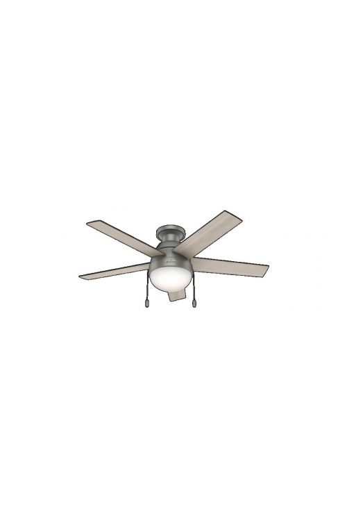 Hunter Anslee Low Profile 2 Light 46 Inch Ceiling Fans In Matte Silver 5 Light Grey Oak Blade And Cased White Glass - 59270