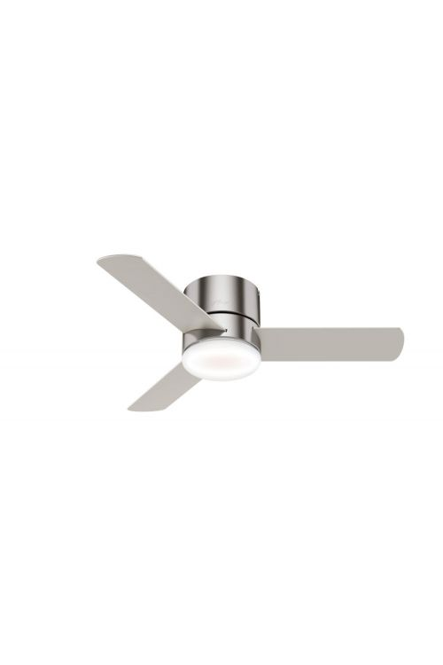 Hunter Minimus 44 inch 3 Blade Flush Mount LED Ceiling Fan in Brushed Nickel 59454