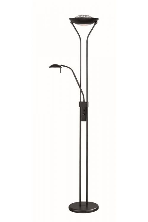 Lite Source Duality ll 2 Light Torchiere Reading Combo Lamp in Black Frosted Glass Diffuser - LS-80984BLK