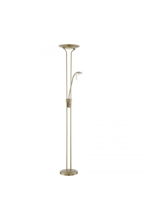 Lite Source Duality Iv 1+1 Light LED Torchiere Reading Combo Lamp in Antique Brass - LS-83363AB