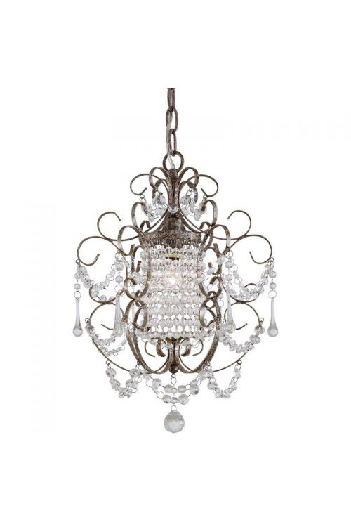Minka Lavery 1 Light 11 Inch Crystal Chandelier In Westport Silver With Glass Shade 3121-333