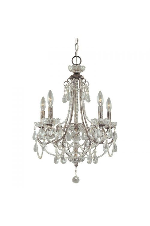 Minka Lavery 5 Light 19 Inch 1 Tier Candle Style Crystal Chandelier In Distressed Silver 3134-207