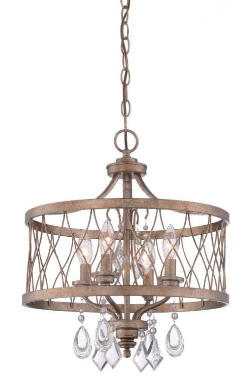 Minka Lavery West Liberty 4 Light 16 Inch Semi-Flush Mount Convertible To Chandelier In Olympus Gold 4403-581