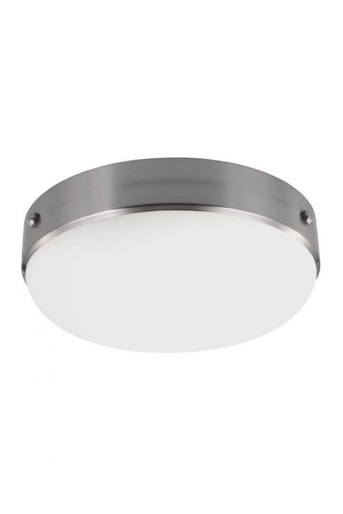 Murray Feiss Cadence 2 Light Flush Mount In Brushed Steel With White Opal Etched Glass Shade - FM390BS