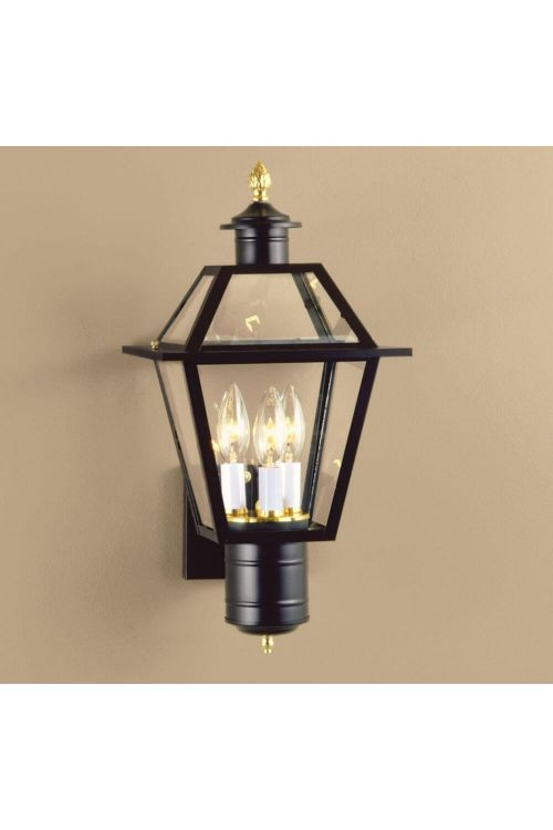 Norwell Lighting Lexington Three Light 18 Inch Tall Outdoor Wall Mount Lantern In Black With Clear Glass 2233-BL-CL