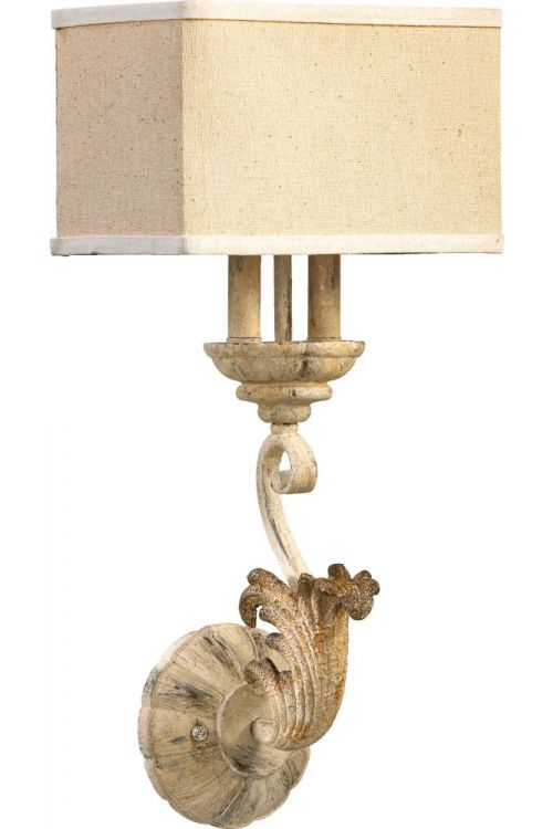 Quorum International Florence 2 Light 23 Inch Tall Wall Sconce In Persian White With Amber Linen Shade 5237-2-70