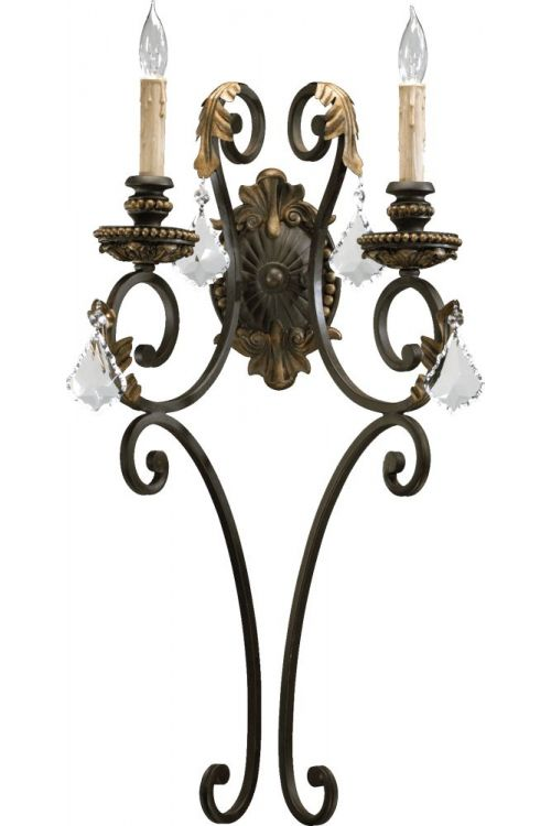 Quorum International Rio Salado 2 Light 27 Inch Tall Wall Sconce In Toasted Sienna With Mystic Silver 5357-2-44