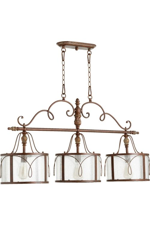 Quorum International Salento 3 Island Light In Vintage Copper With Clear Seeded Shade - 6506-3-39