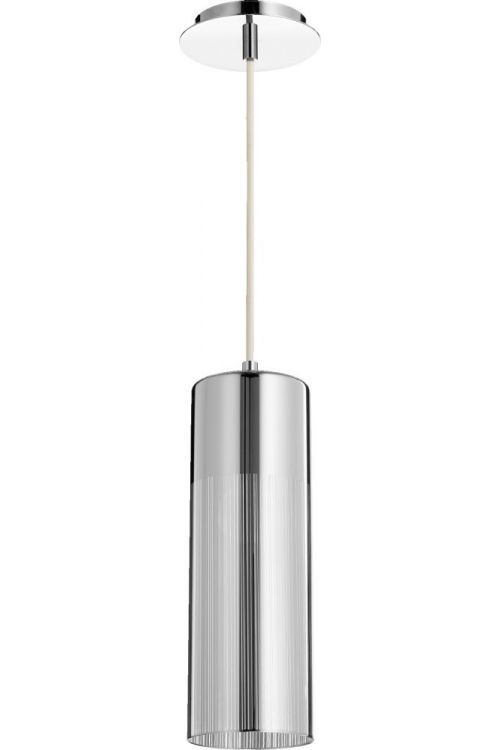 Quorum International 1 Light Pendant In Chrome With Mirror Glass And Silver Shade - 838-1414