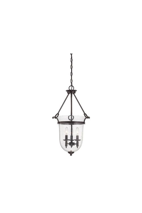 Savoy House Trudy 3 Light 16 Inch Foyer Pendant English Bronze With Seeded Glass 3-7132-3-13