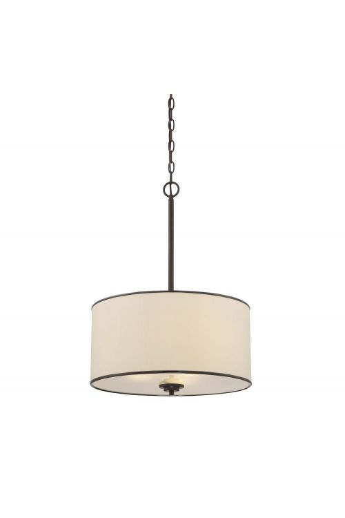 Savoy House Grove 3 Light 18 Inch Pendant In English Bronze With Cream Fabric Shade 7-1502-3-13