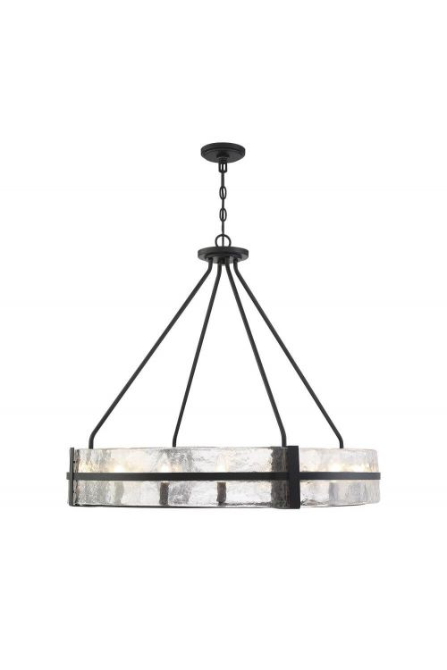 Savoy House Hudson 12 Light 36 Inch Pendant in Matte Black with Clear Water Glass 7-1851-12-89