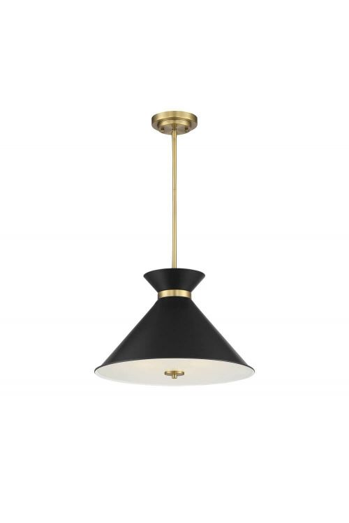 Savoy House Lamar 3 Light 18 Inch Pendant in Black - Warm Brass Accents with Black Clear Diffuser 7-2416-3-143