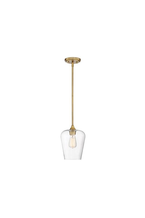 Savoy House Octave 1 Light 8 Inch Pendant In Warm Brass With Clear Glass 7-4036-1-322
