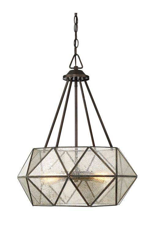 Savoy House Tartan 4 Light 20 Inch Pendant Oiled Burnished Bronze With Mercury Glass 7-9008-4-28