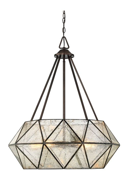 Savoy House Tartan 5 Light 28 Inch Pendant Oiled Burnished Bronze With Mercury Glass 7-9009-5-28